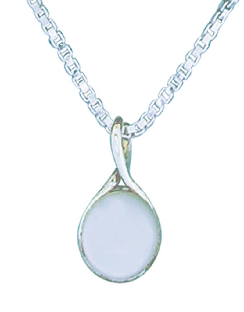 Sterling Silver Round Mother of Pearl Twist Pendant 18mm
