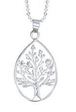 Sterling Silver Tree in Teardrop Pendant 28mm