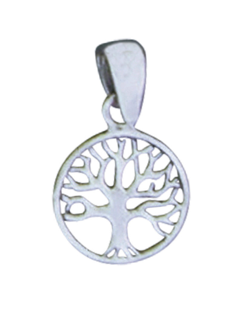 Sterling Silver Round Tree of Life Pendant 10mm