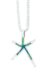 Sterling Silver Synthetic Opal Starfish Pendant 31mm