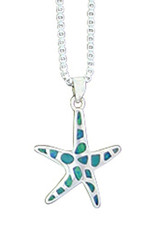 Sterling Silver Synthetic Opal Starfish Pendant 21mm