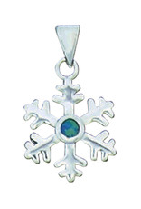 Sterling Silver Synthetic Opal Snowflake Pendant 15mm