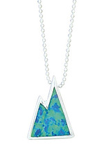 Sterling Silver Synthetic Opal Mountain Slide Pendant 17mm