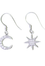 Sterling Silver Moon and Star CZ Earrings 10mm