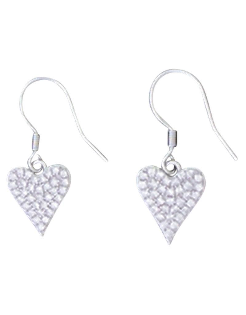 Sterling Silver Pave CZ Heart Earrings 11mm