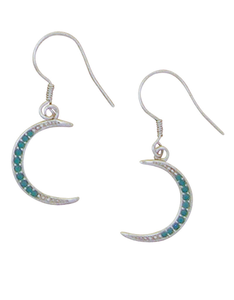 Sterling Silver Turquoise CZ Crescent Moon Earrings 14mm