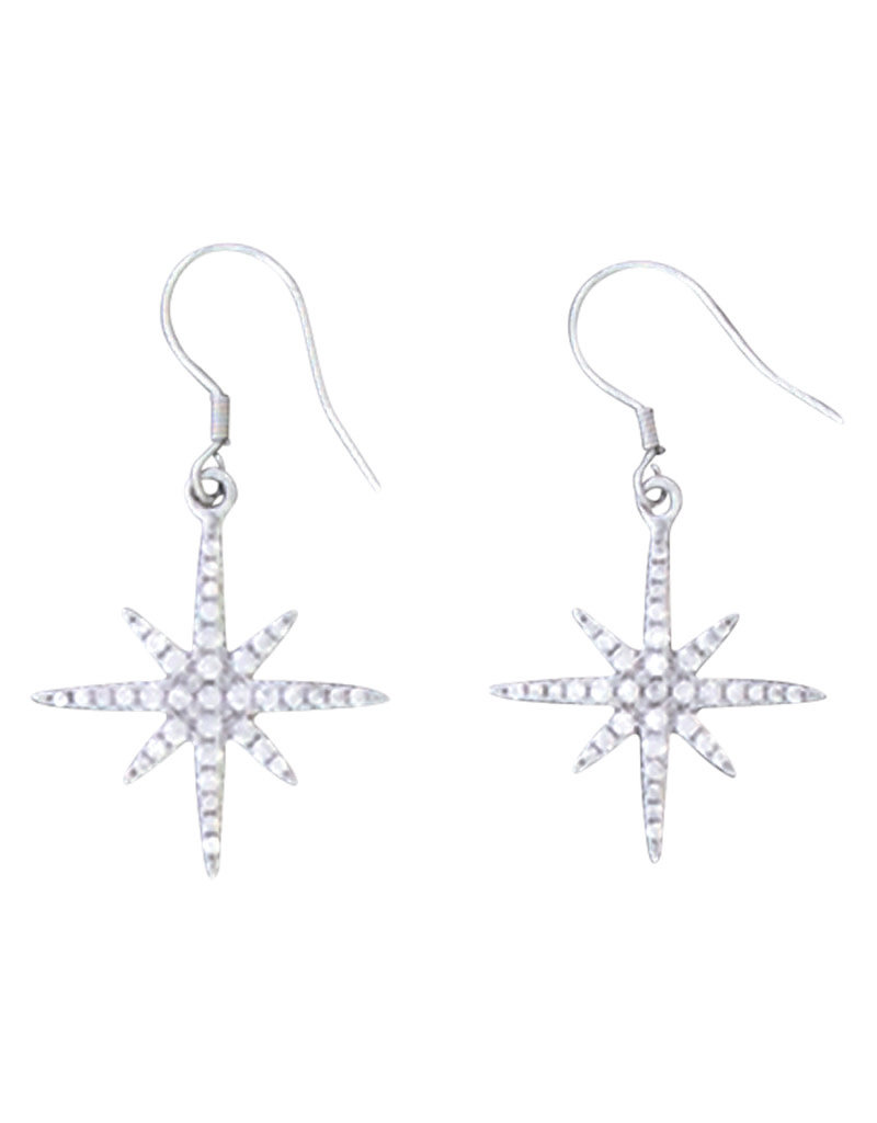 Sterling Silver North Star Pave CZ Earrings 20mm