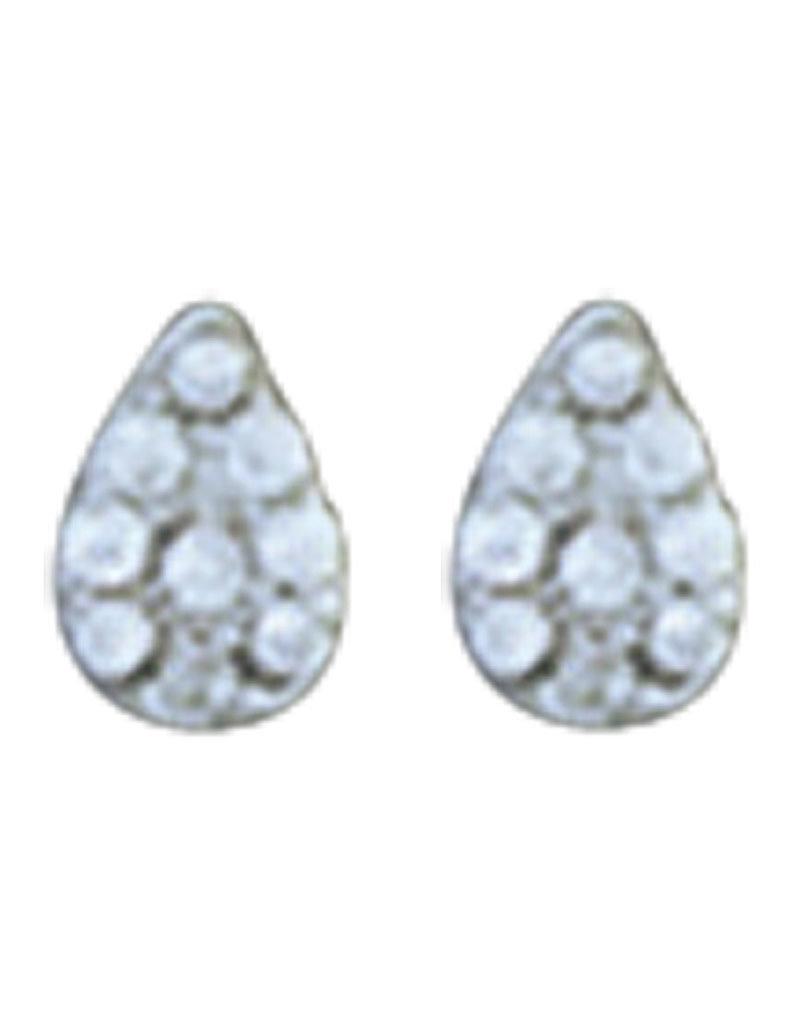 Sterling Silver Teardrop Pave CZ Stud Earrings 5mm
