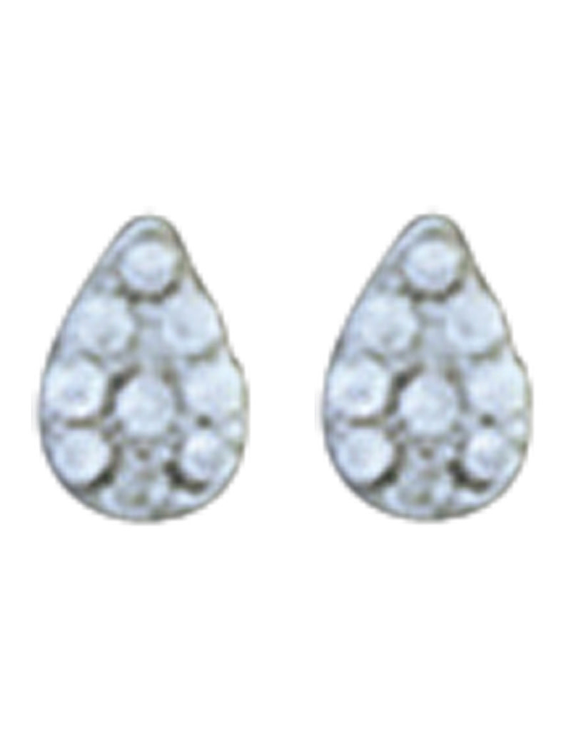 Teardrop Pave CZ Stud Earrings 5mm