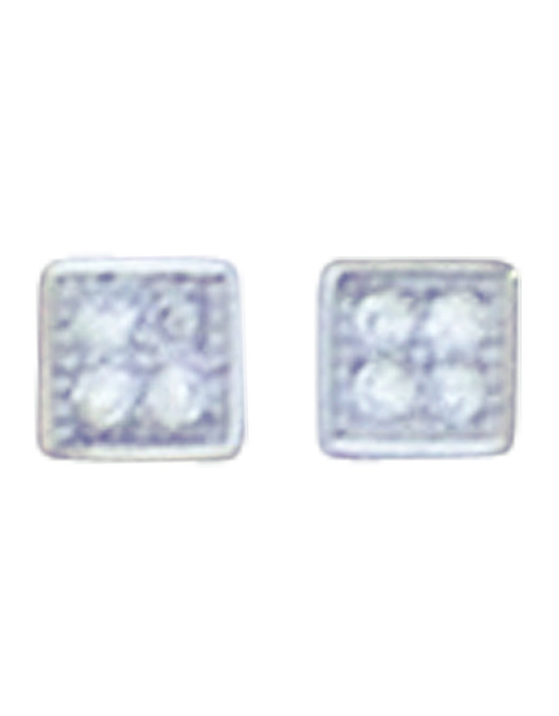 Sterling Silver Square Pave CZ Stud Earrings 4mm