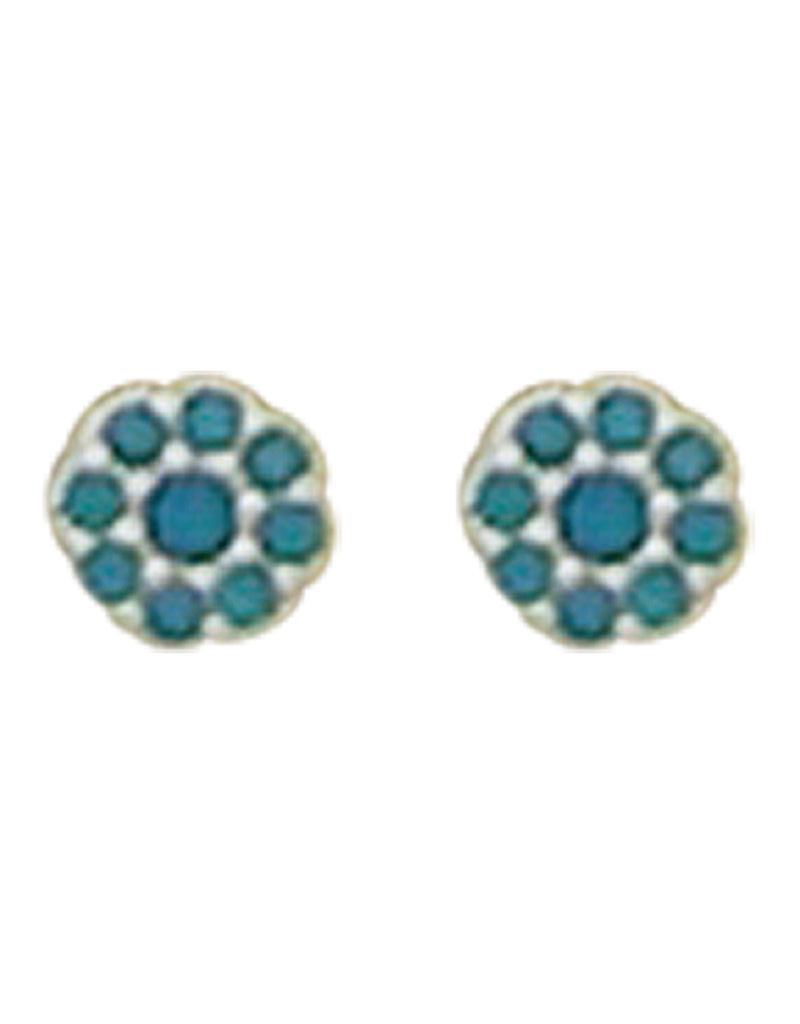 Pave Turquoise CZ Stud Earrings 4mm