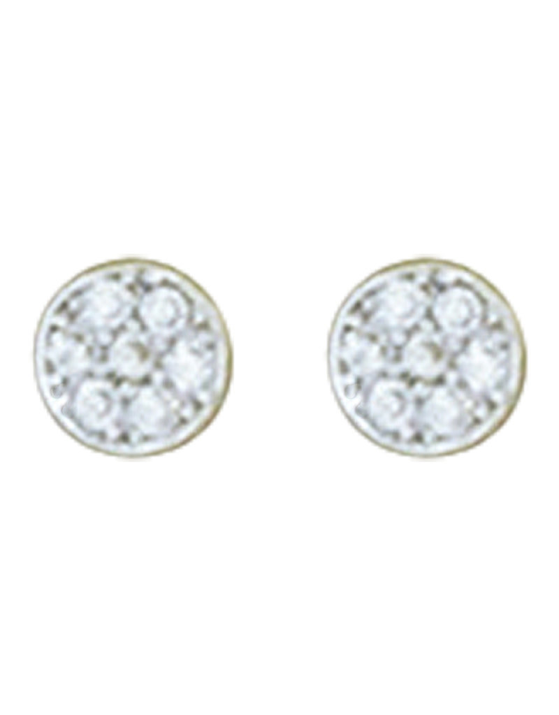 Sterling Silver Round Pave CZ Stud Earrings 5mm