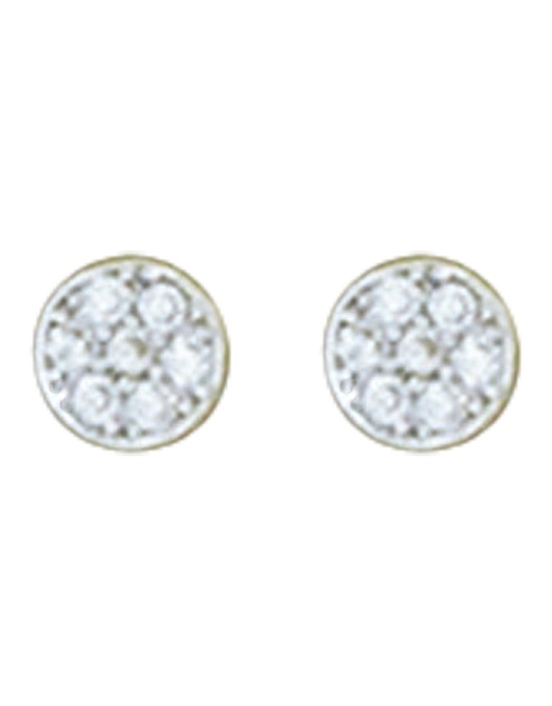 Round Pave CZ Stud Earrings 5mm