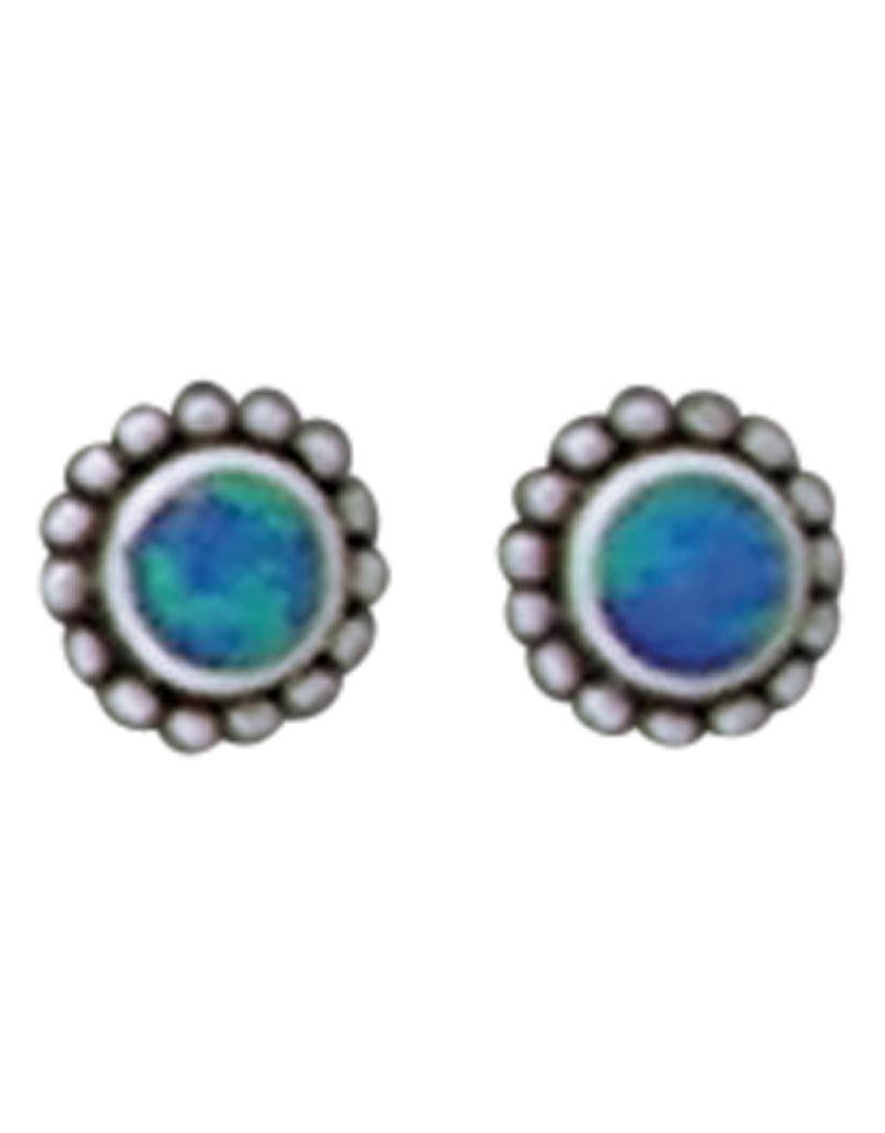 Sterling Silver Opal Inlay Beaded Stud Earrings 7mm