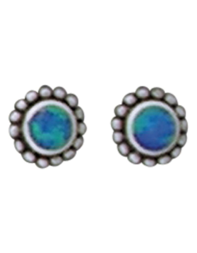 Opal Inlay Beaded Stud Earrings 7mm