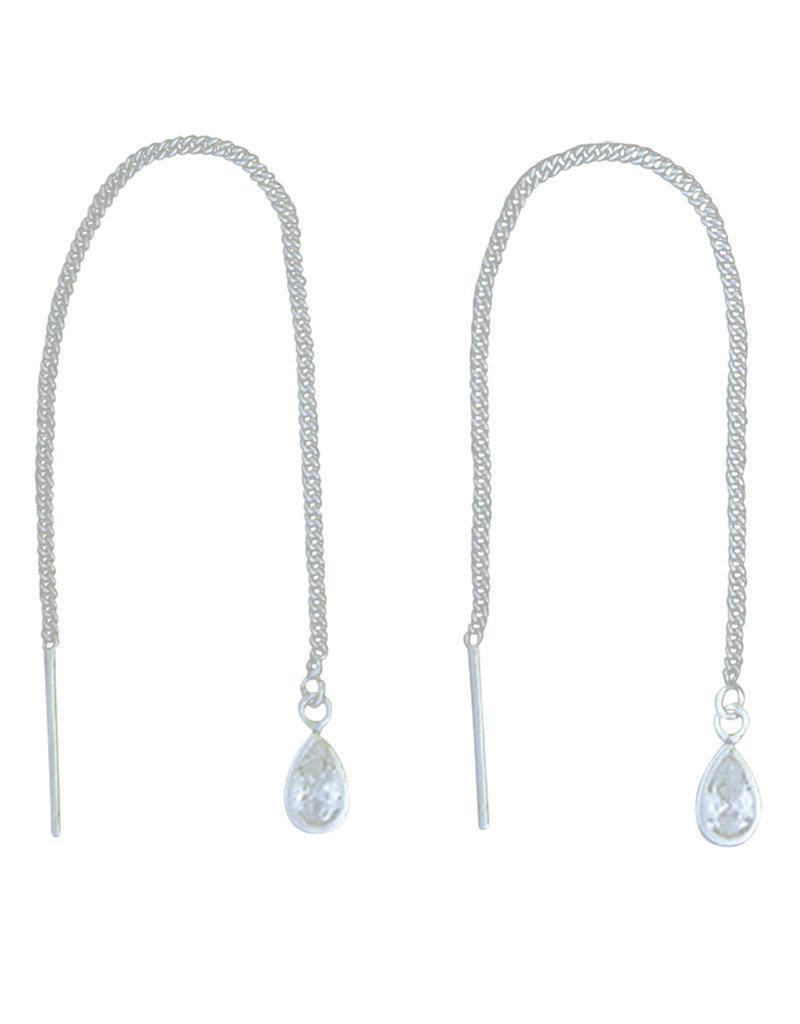 Sterling Silver Teardrop CZ Threader Earrings