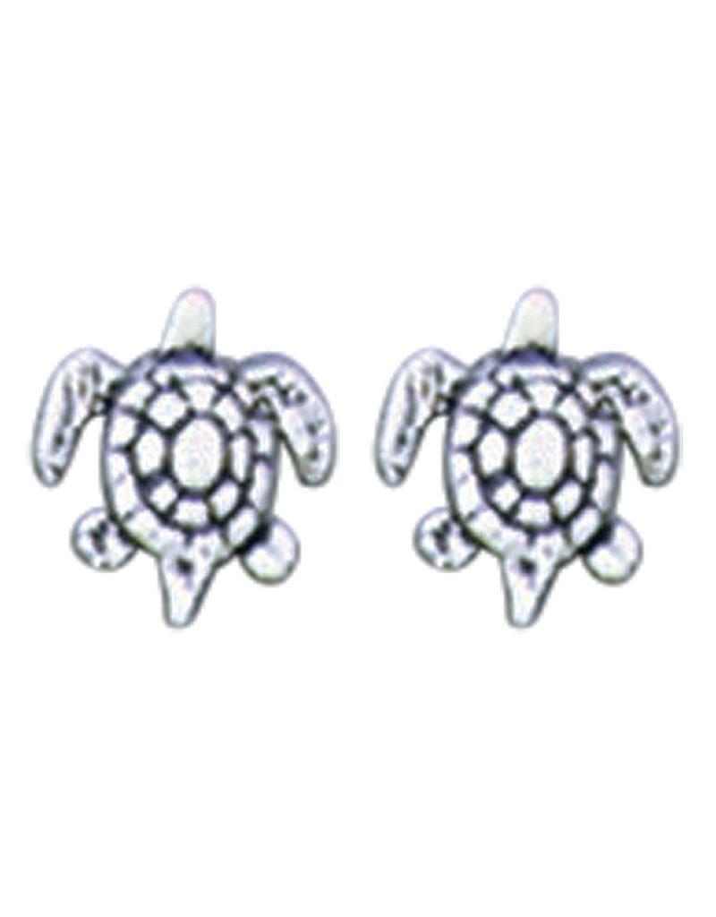 Sterling Silver Sea Turtle Stud Earrings 8mm