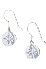 Sterling Silver North Star CZ Earrings 10mm