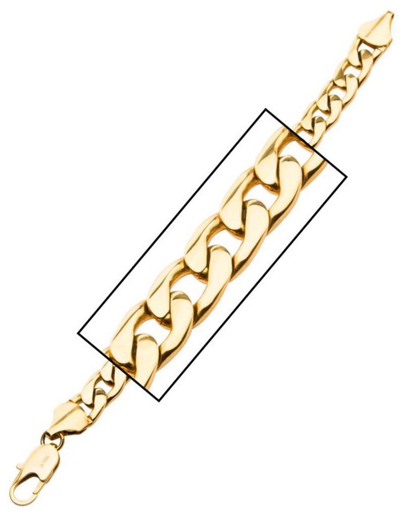 """Gold Steel Curb Link Bracelet 8.5"""""""