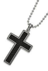 """Men's Stainless Steel and Leather Cross Necklace 22"""""""