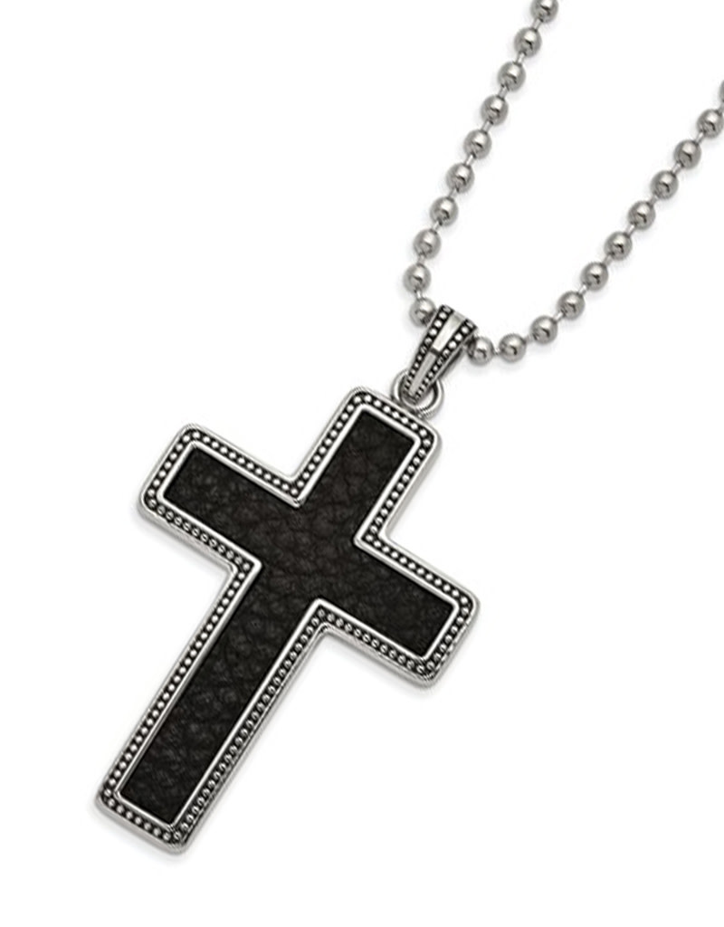 Steel and Leather Cross Necklace