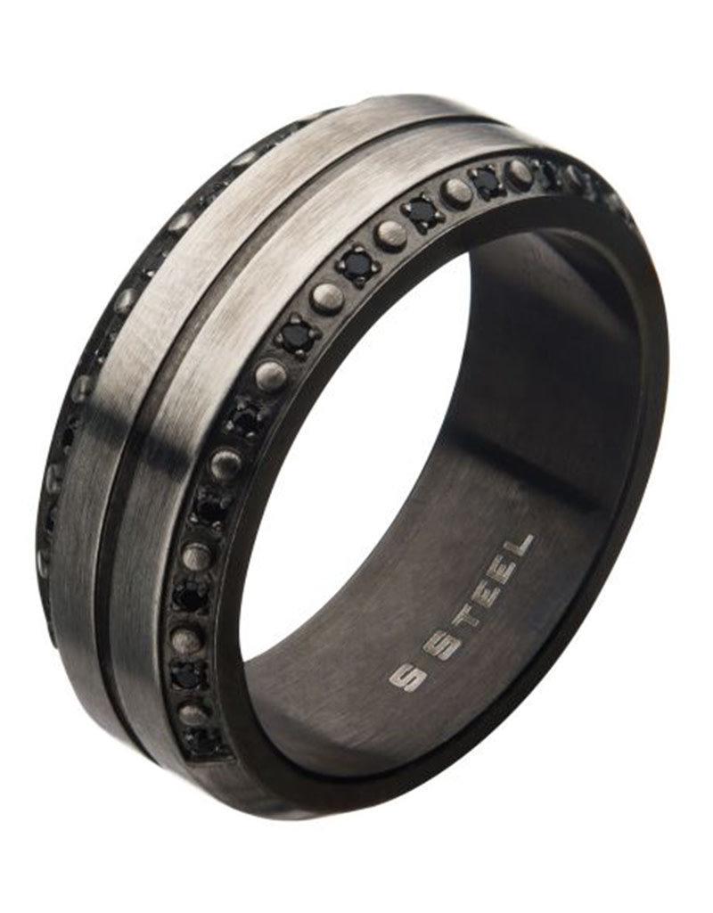 Men's Black CZ Gunmetal Stainless Steel Band Ring