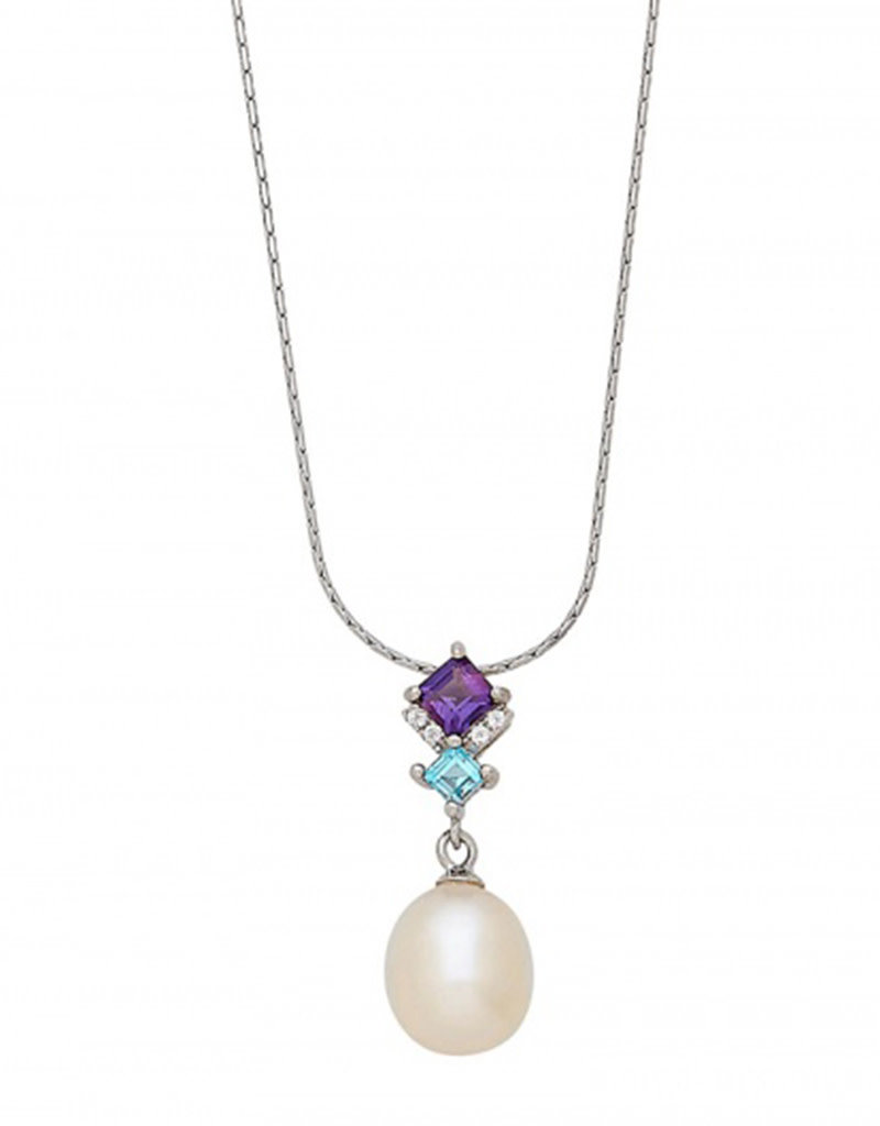 Sterling Silver Amethyst and Blue Topaz with Pearl Dangle Necklace