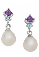 Sterling Silver Amethyst and Blue Topaz with Pearl Dangle Earrings