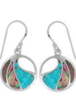 Sterling Silver Abalone and Turquoise Earrings