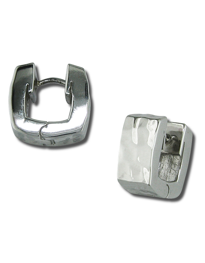ZINA Square Hammered Huggie Earrings