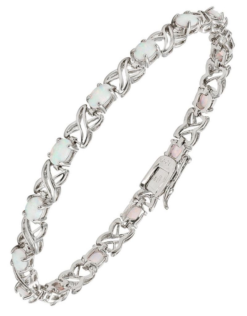 """XO"" Oval White Opal Bracelet"