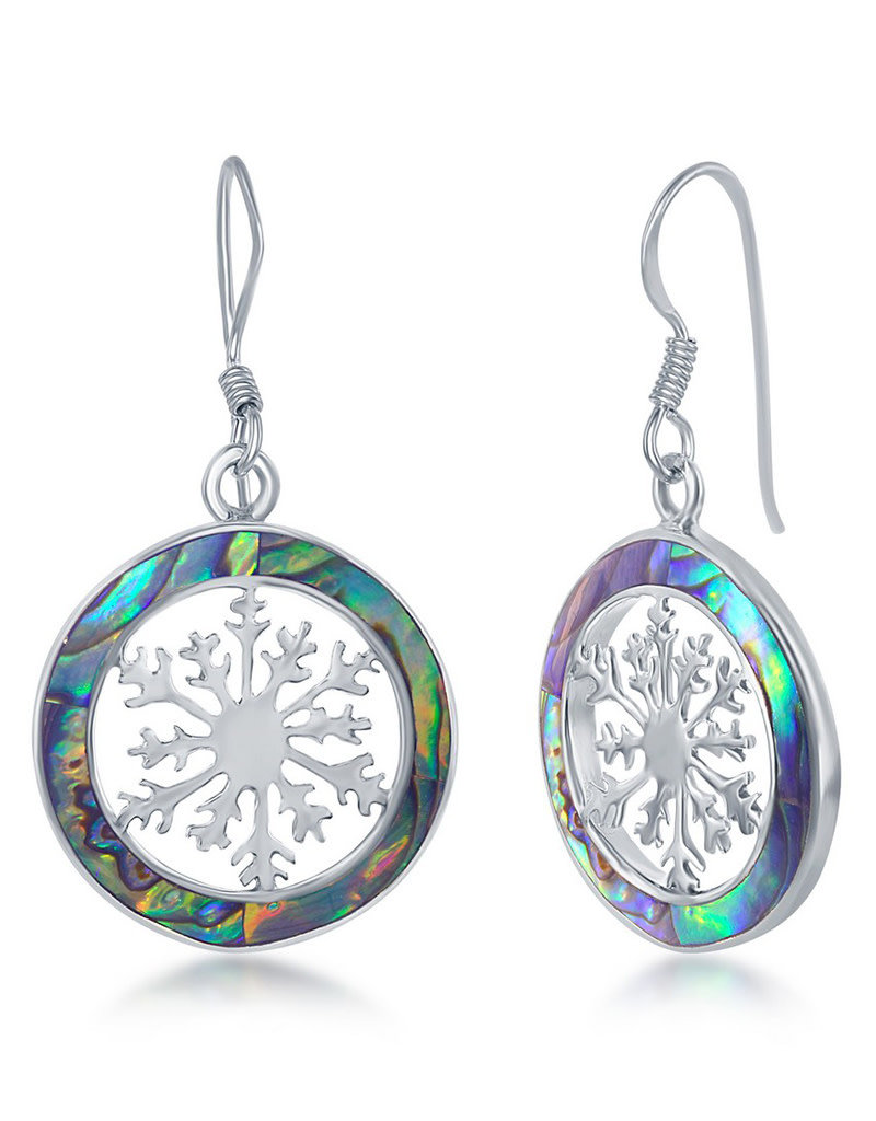 Sterling Silver Abalone Snowflake Earrings