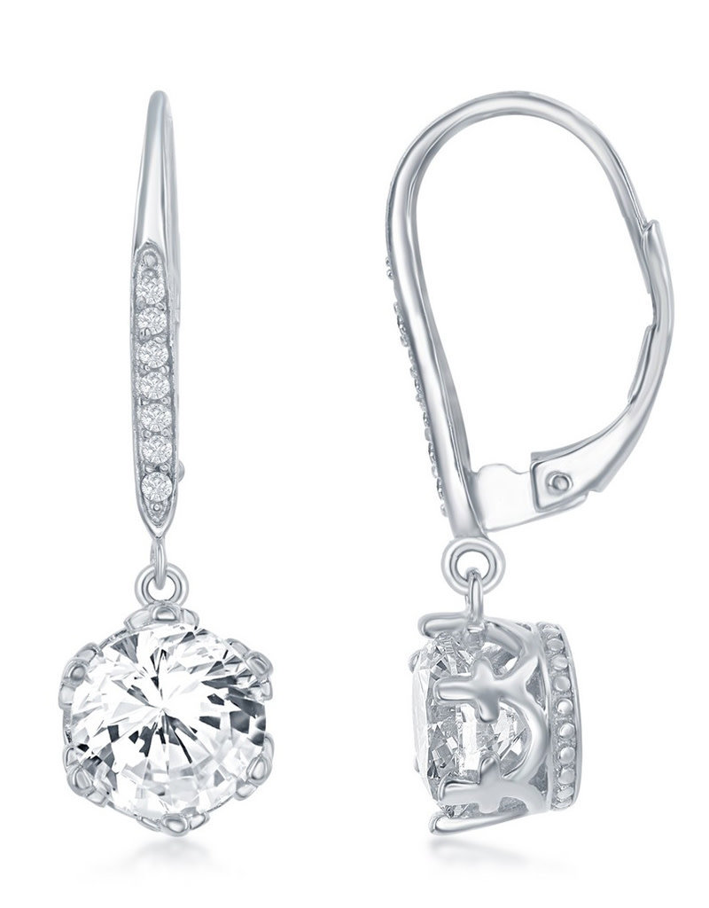 Sterling Silver 8mm Round CZ Dangle Earrings
