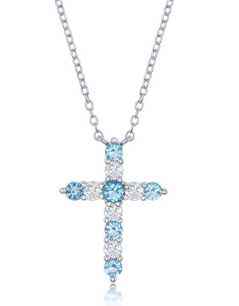 Swiss Blue CZ Cross Necklace