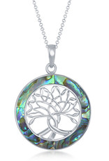 Sterling Silver Abalone Tree of Life Necklace