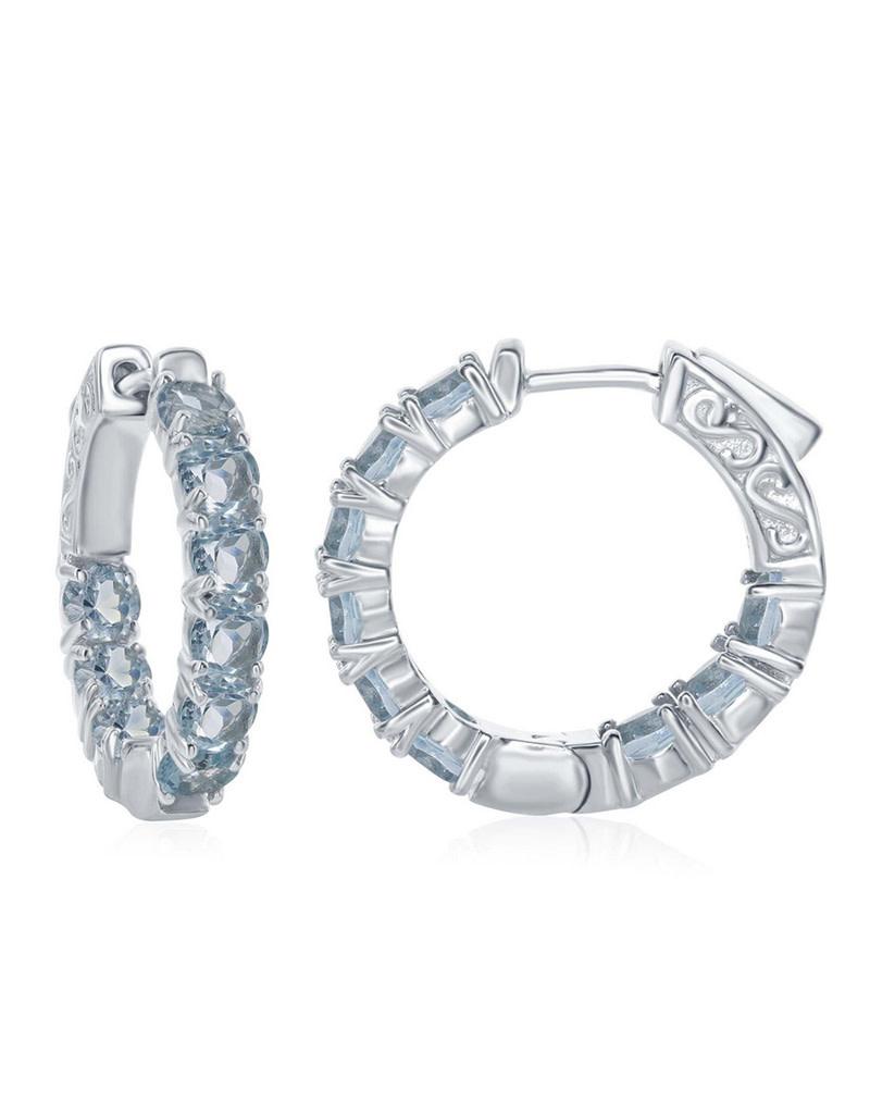 Inside-Outside Blue Topaz Hoop Earrings