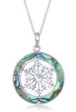 Sterling Silver Abalone Snowflake Necklace
