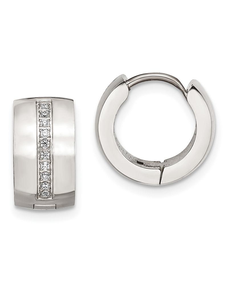Steel CZ Huggie Earrings 13mm