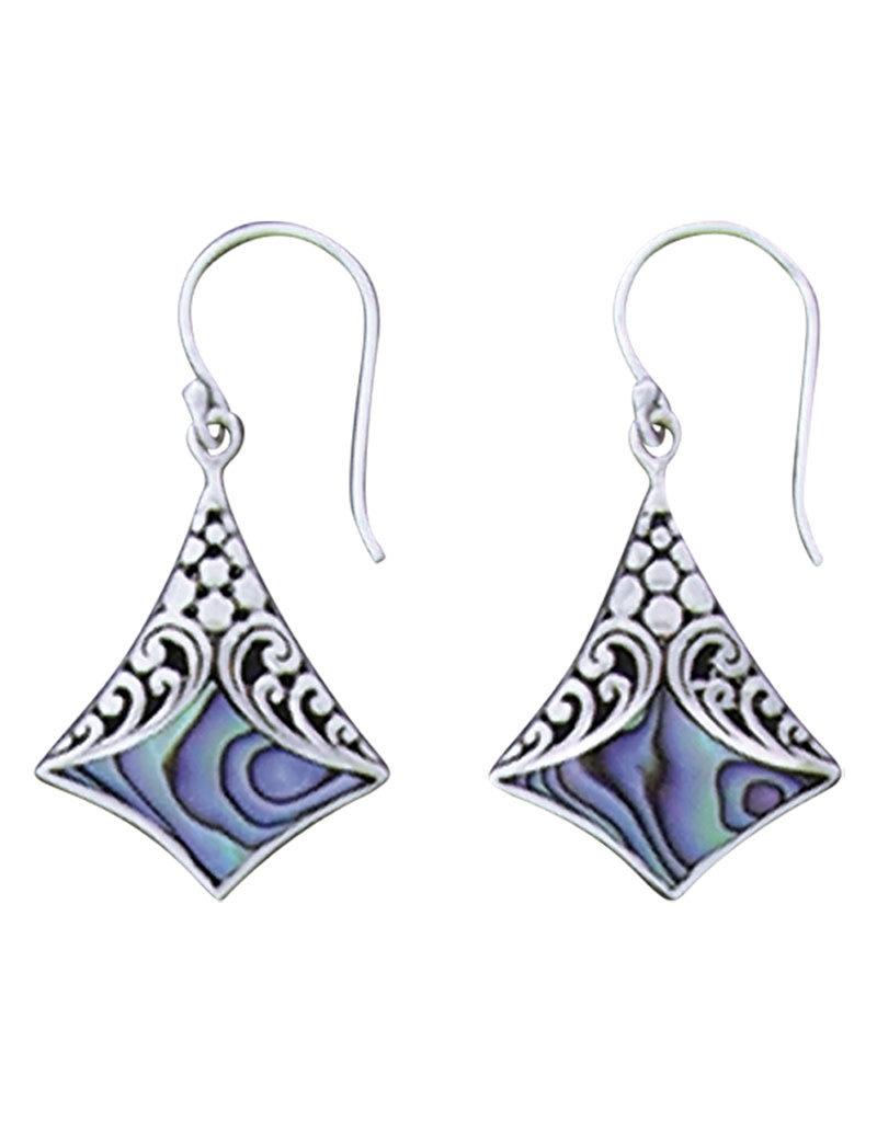 Sterling Silver Abalone Design Earrings