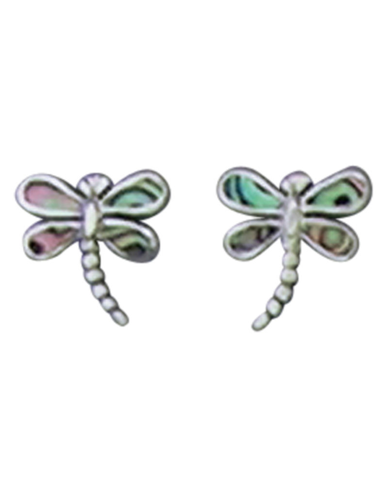 Sterling Silver Abalone Dragonfly Stud Earrings 10mm