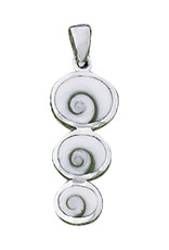 Sterling Silver 3-Round Shiva Shell Pendant 26mm