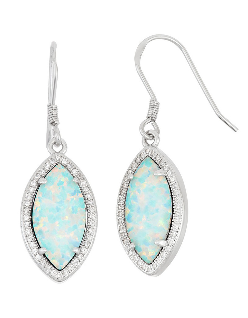 Opal Marquise with CZ Border Earrings