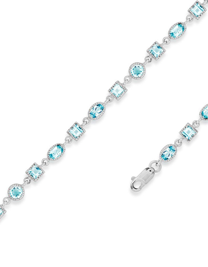 Oval and Square Blue Topaz Bracelet