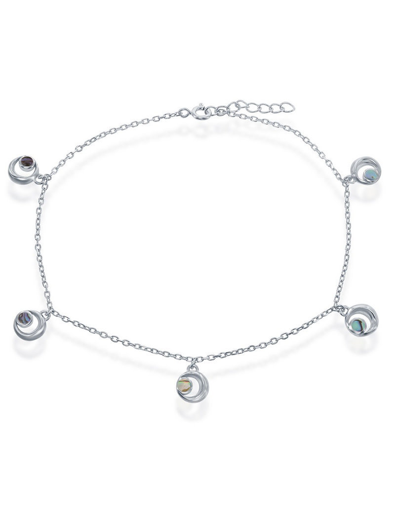 Sterling Silver Abalone Crescent Moon Anklet