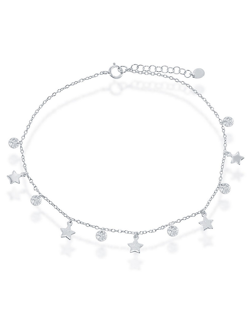 Dangle Silver Stars and CZ Anklet