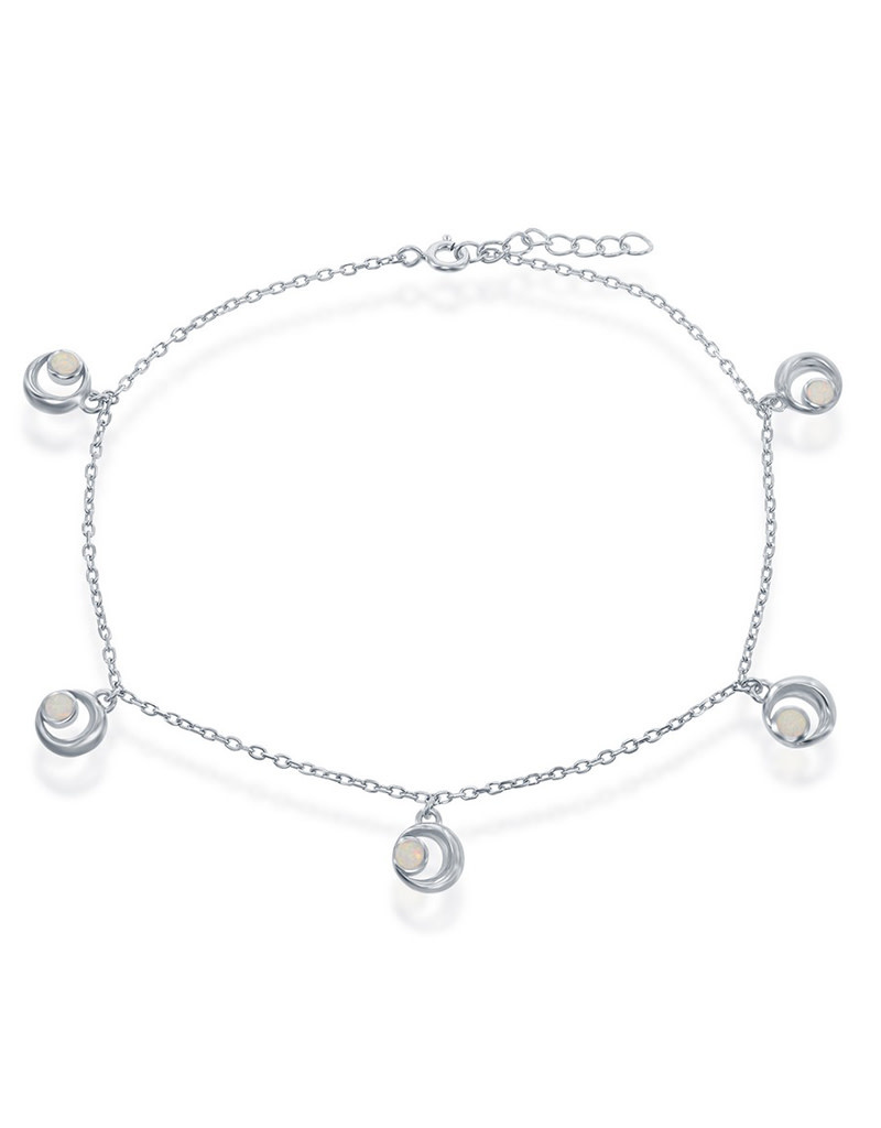 White Opal Crescent Moon Anklet