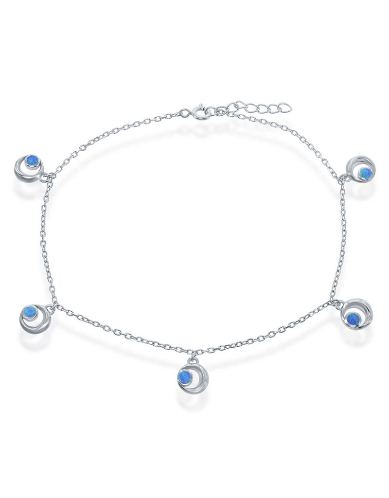 Blue Opal Crescent Moon Anklet