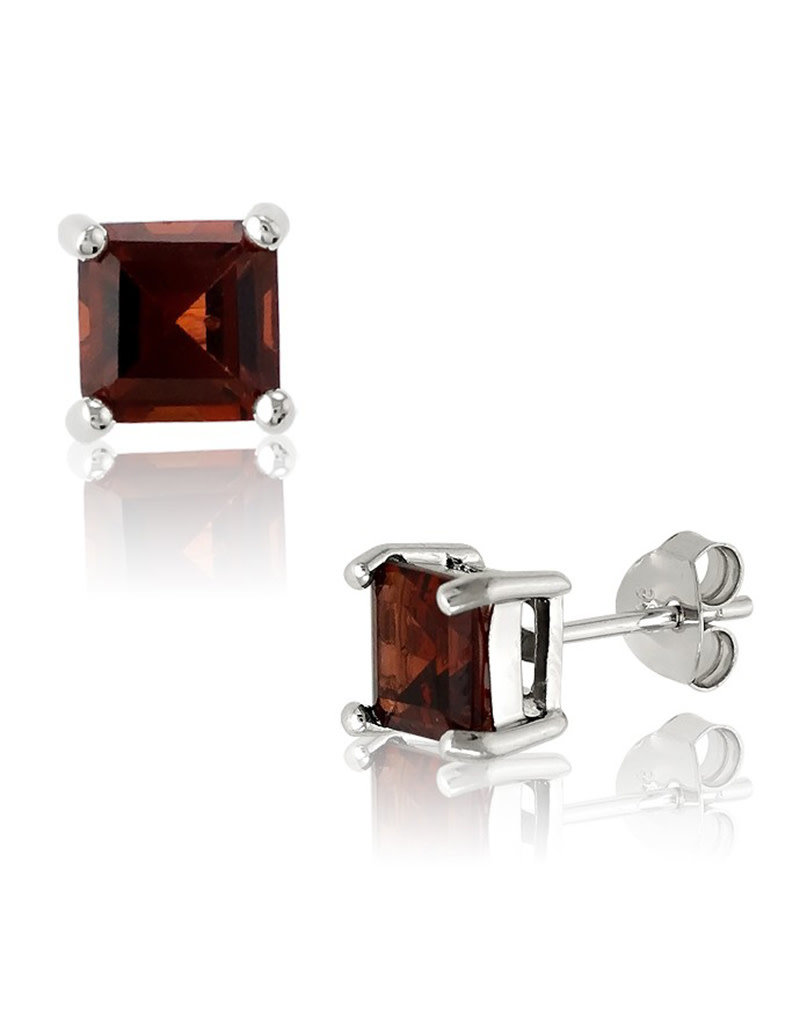 Sterling Silver 6mm Square Garnet Stud Earrings