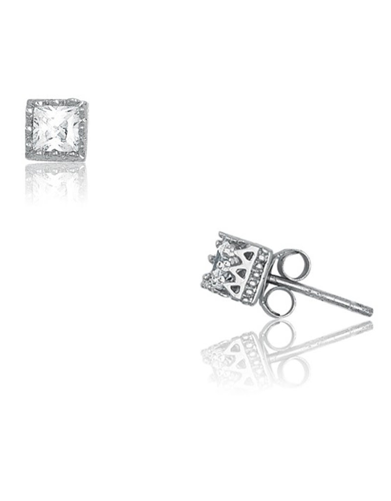 Sterling Silver 5mm Square CZ Stud Earrings