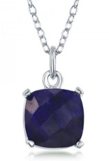 Sterling Silver 8mm Cushion Cut Sapphire Necklace